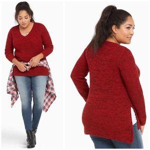 Torrid Red Marled Knit V-Neck Sweater